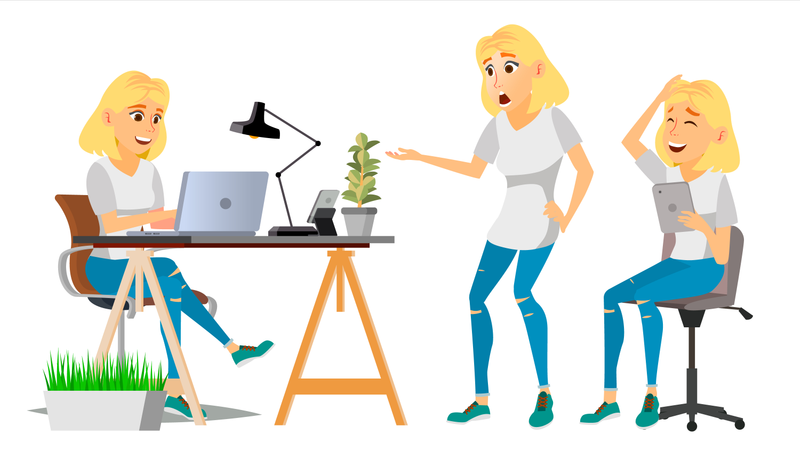 Business Woman Working On Desk In Office Illustration
