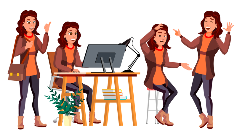 Business Woman Working On Desk In Office With Different Gesture Illustration