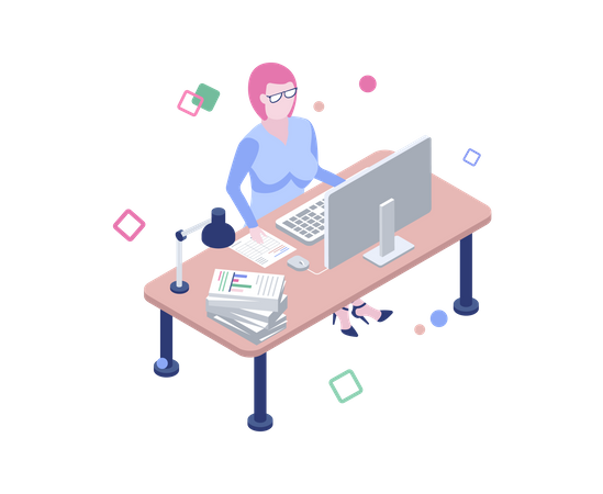 Business woman working on desk in the office Illustration