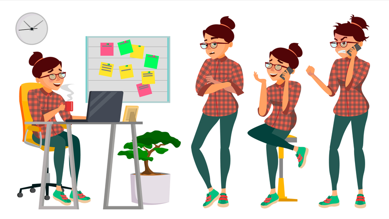 Business Woman Working On Her Desk In Office Illustration