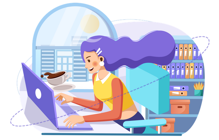 Business woman working on laptop Illustration