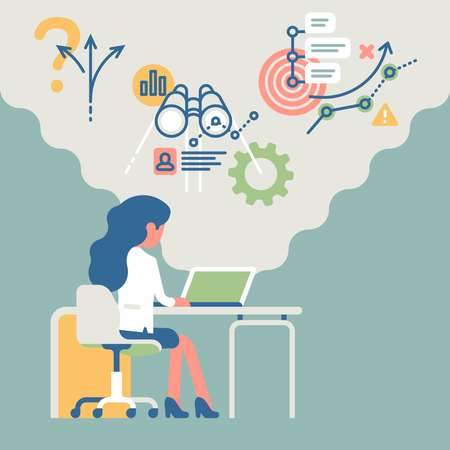 Business woman working on project Illustration