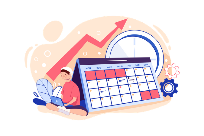 Business woman working on schedule management Illustration