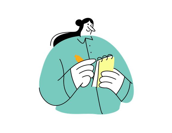 Business woman writing notes of startup idea Illustration