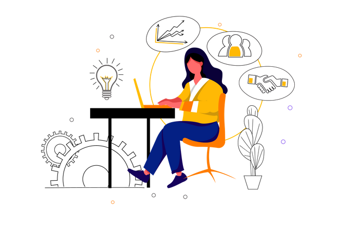 Business women create business idea and planing for resources Illustration