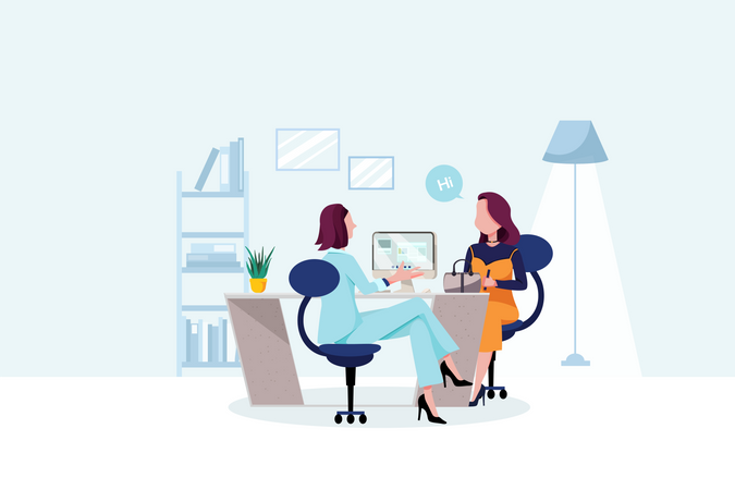 Business women giving advice to her client Illustration