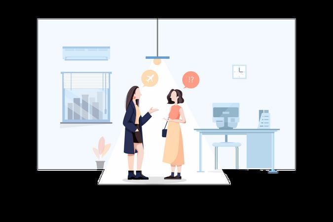 Business women talking in office Illustration