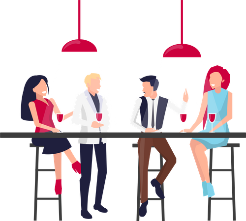 Business workers spending time together - Corporate party Illustration