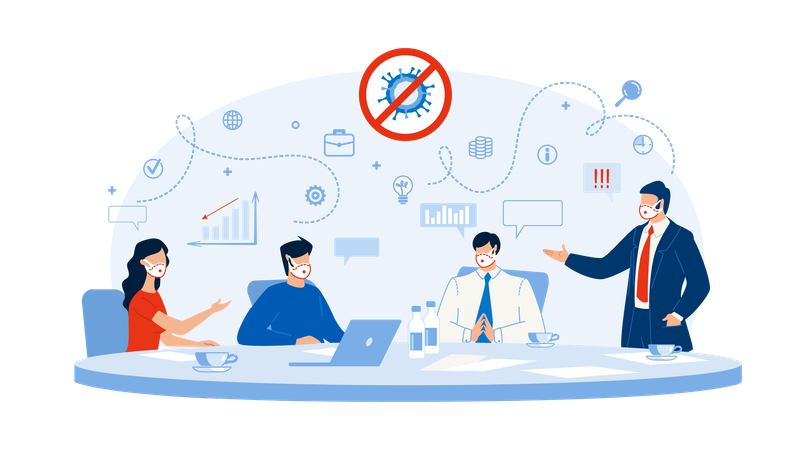 Business Workflow Strategy Planning after Covid-19 Illustration