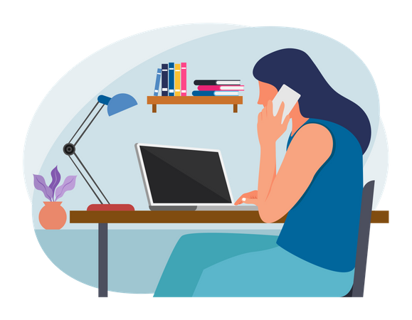 Businesslady talking on mobile and working on laptop Illustration