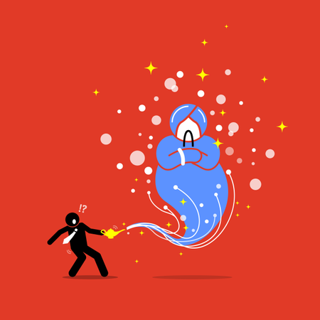 Businessman and a Genie in a lamp Illustration