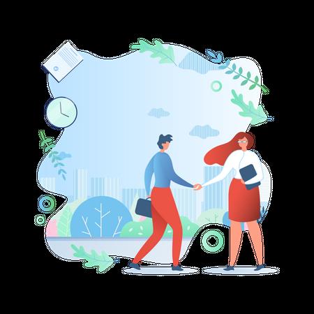 Businessman and businesswoman shaking hands Illustration
