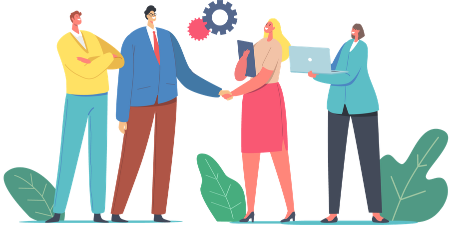 Businessman and Businesswoman Shaking Hands Selling Products and Services Illustration