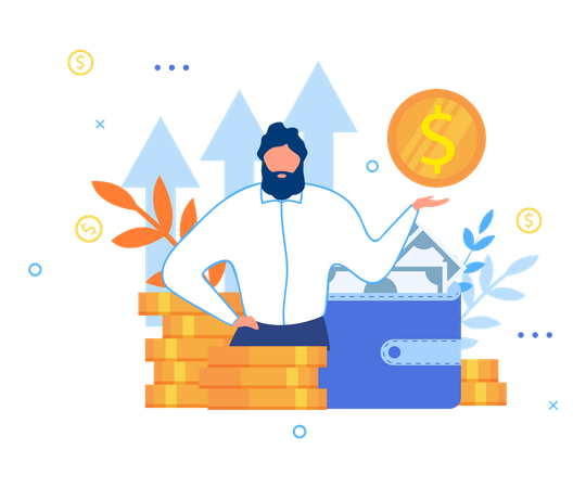 Businessman and Personal Financial Target Illustration