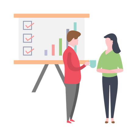 Businessman and sales executive discussing about sales growth Illustration