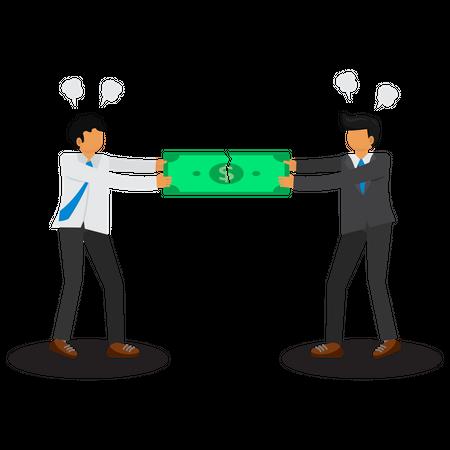 Businessman are fighting over money Illustration