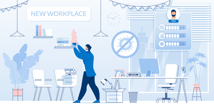 Businessman at New Director Workplace after Covid Illustration