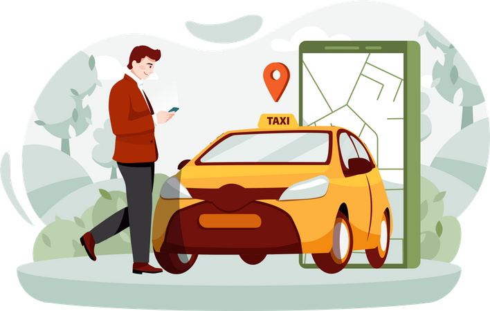 Businessman Booking cab From cab service app Illustration
