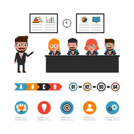 Businessman Brainstorming In Conference Room Illustration