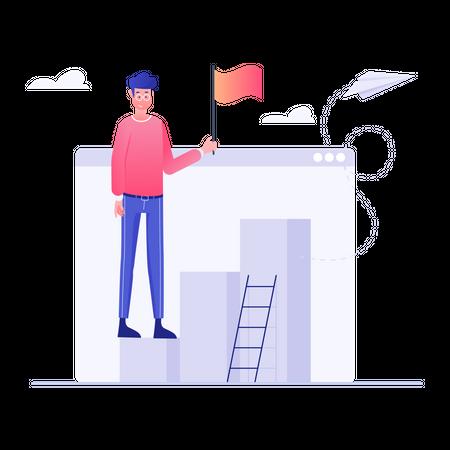 Businessman Build Up Steps to Success Illustration