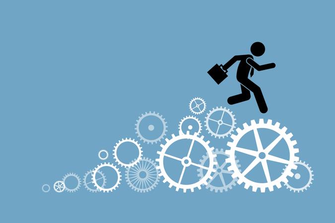 Businessman business person running on cogwheels Illustration