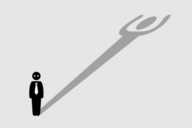 Businessman casting a shadow that resembling a strong person Illustration