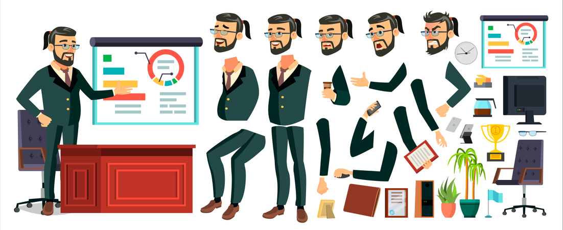 Businessman Character Different Body Parts Illustration