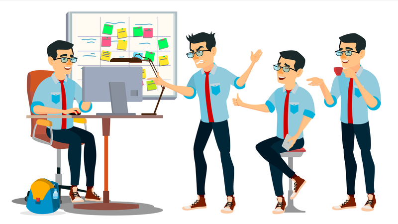 Businessman Character Working In Office Illustration