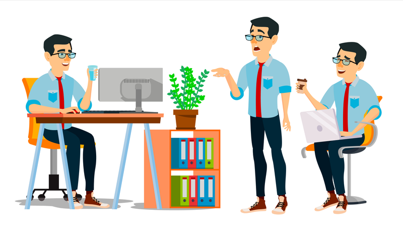 Businessman Character Working In Office On Desk Illustration