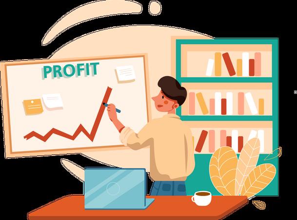 Businessman checking business growth Illustration