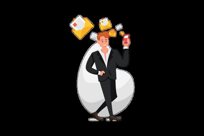 Businessman checking emails during free time Emails Illustration