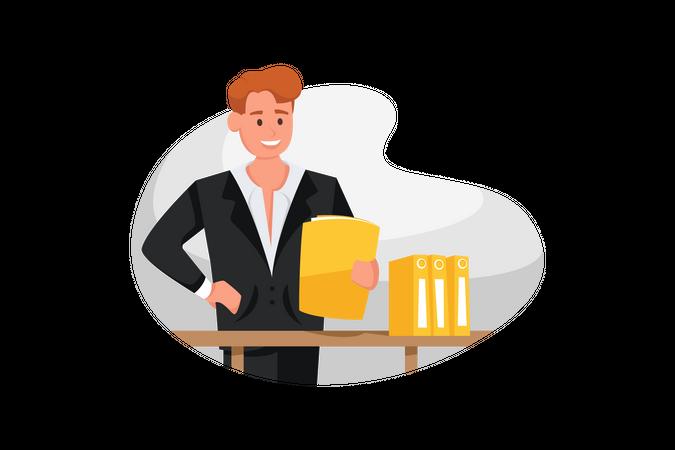 Businessman checking work details from folder Illustration
