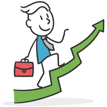 Businessman climbing positions in the company Illustration