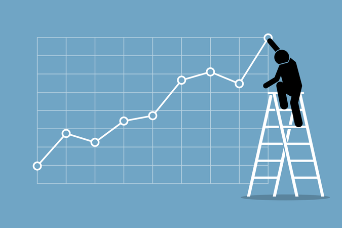 Businessman climbing up on a ladder to adjust an uptrend graph chart on a wall Illustration