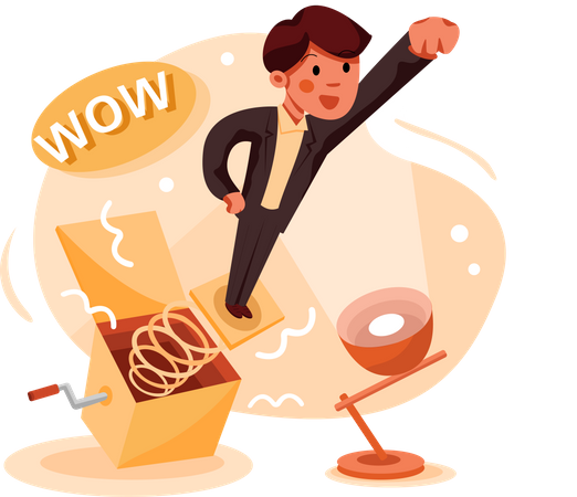 Businessman coming out from Jack in the Box Illustration