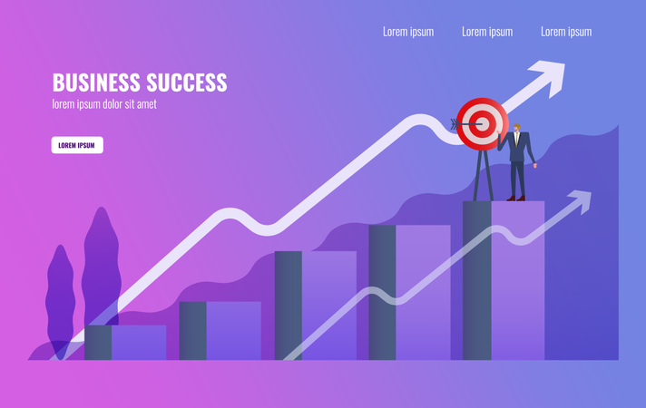 Businessman complete Business mission on  the top of graph Illustration