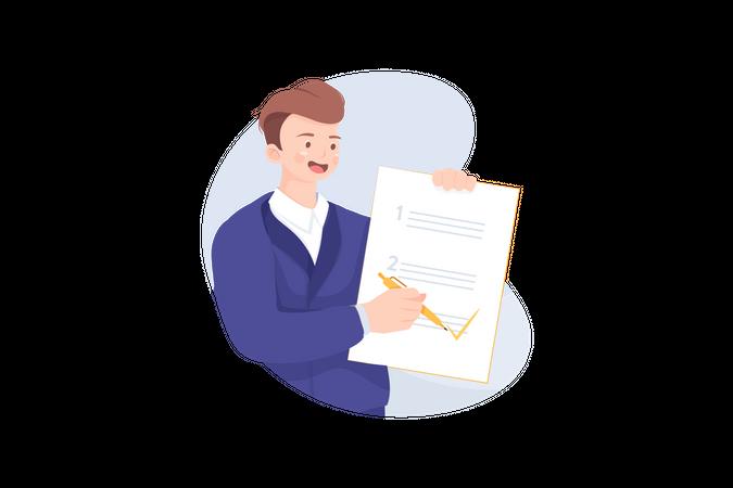 Businessman completing task Illustration