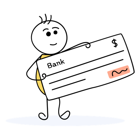 Businessman depositing payment cheque in bank Illustration