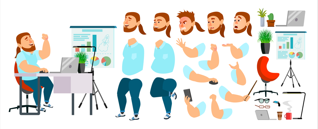 Businessman Different Body Parts Used In Animation Illustration