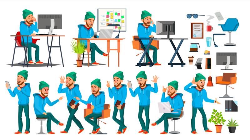 Businessman Different Mood During Working Illustration