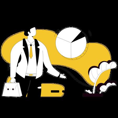 Businessman doing data analysis Illustration