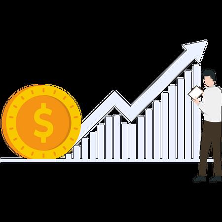Businessman doing growth analysis Illustration