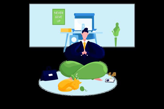 Businessman doing meditation Illustration