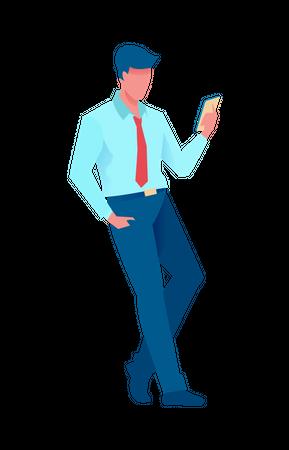 Businessman doing online meeting on mobile Illustration