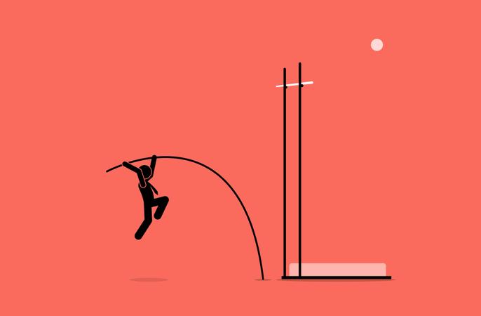 Businessman doing pole vault Illustration