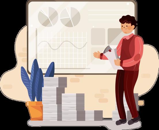 Businessman doing sales analytics Illustration
