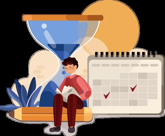 Businessman doing time management Illustration