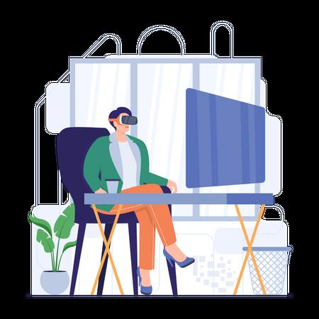 Businessman doing virtual meeting Illustration