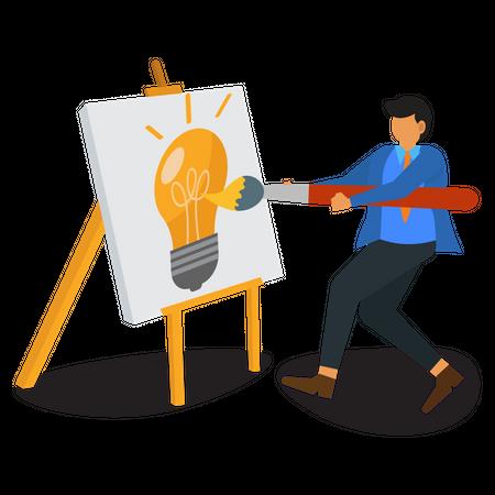 Businessman drawing an idea Illustration