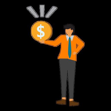 Businessman earn money Illustration